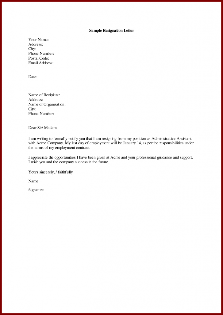 Resignation Letter With Thanks To Company from wikitopx.com